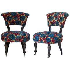 Pair of Napoleon III Ebonized Slipper Chairs, France, circa 1880s