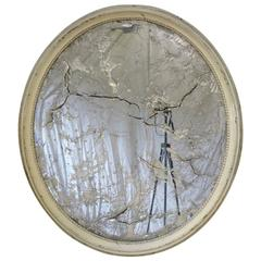Large Oval Beveled Mirror, France, 19th Century