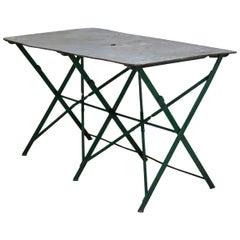 French Folding Zinc Top Iron Table, circa 1920s