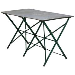 French Folding Zinc Top Iron Table, circa 1920s