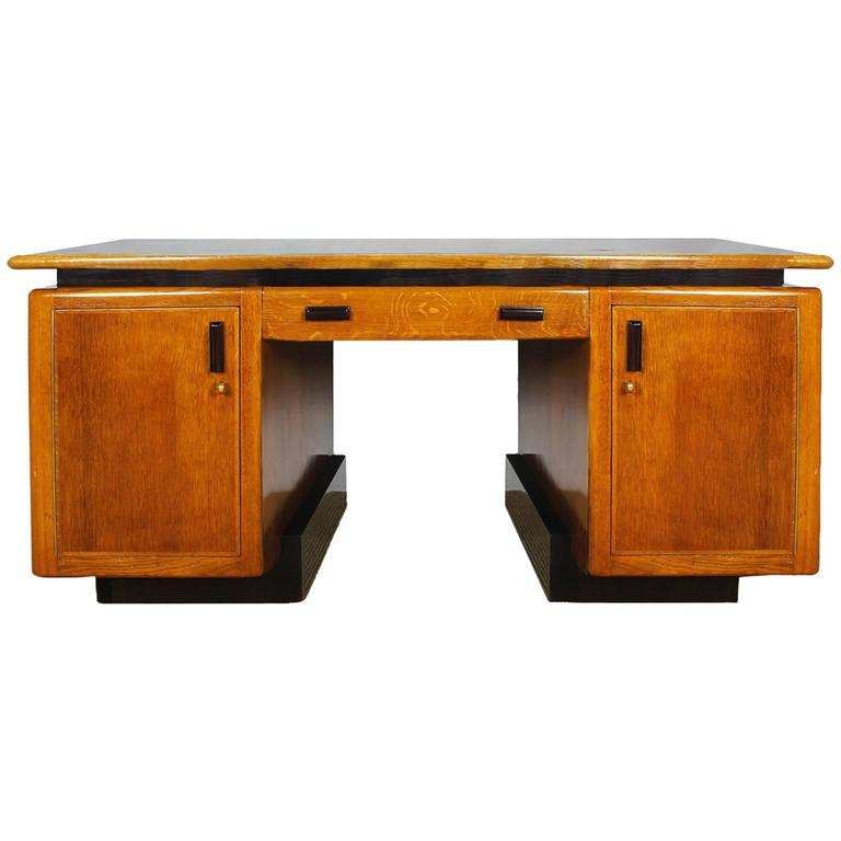 1920s Amsterdam School Desk Oakwood Macassar Ebony Leather Netherlands For