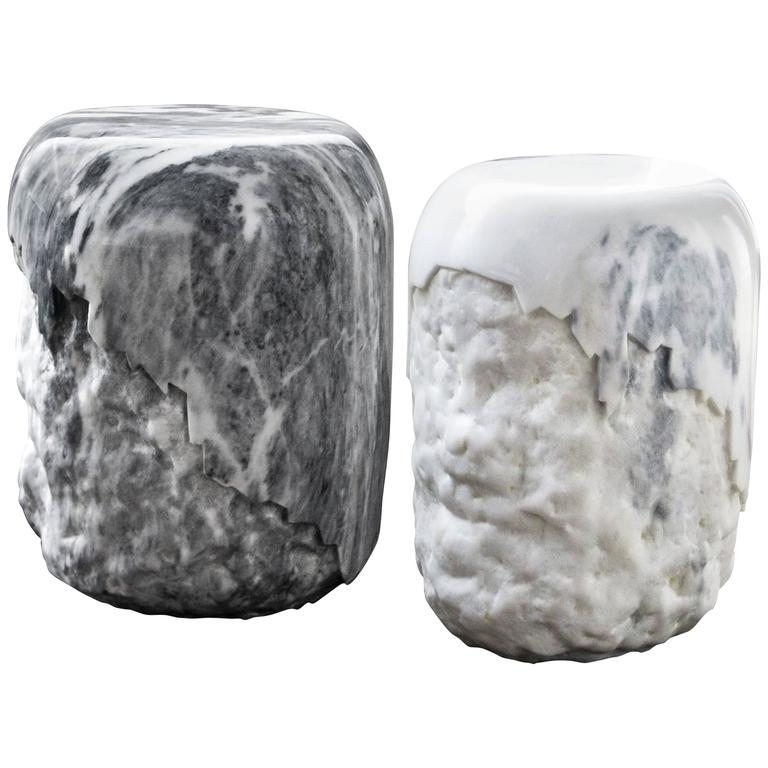 Marble Worked Stool in Carrara Marble