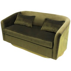 Natural Green Sofa Two Seaters in Velvet with High Gloss Hammered Brass Back
