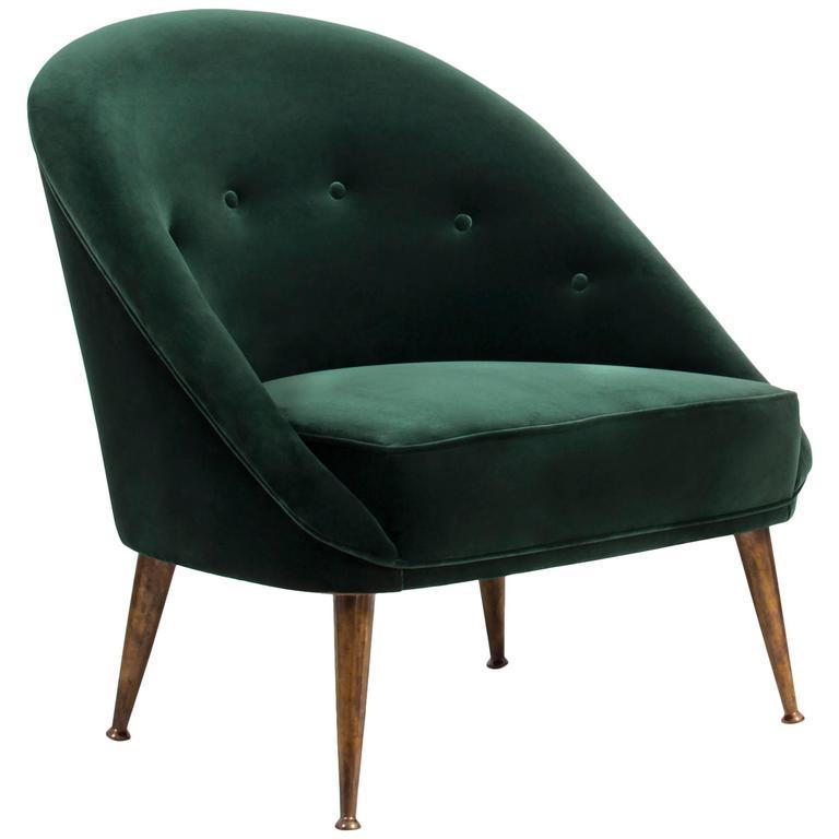 Smart Armchair in Green Cotton Velvet with Aged Brass Feet