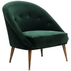 Smart Armchair in Green Cotton Velvet with Aged Brass Feet