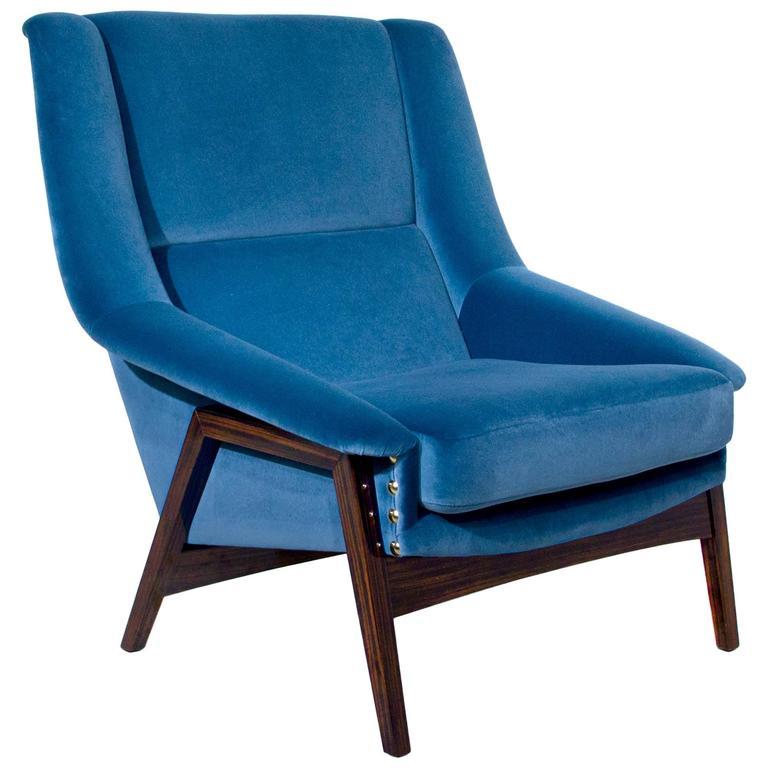 Prima Armchair in Cotton Velvet Ebony Wood Feet