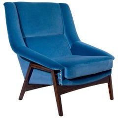 Prima Armchair in Blue Cotton Velvet Ebony Wood Feet