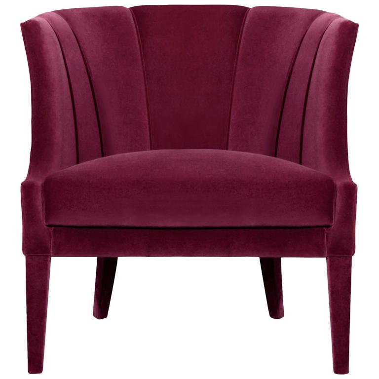 Camilla Armchair in Cotton Velvet and Fully Upholstered 1