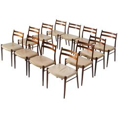 Arne Wahl Iversen Set of 12 Dining Chairs in Rosewood and Leather