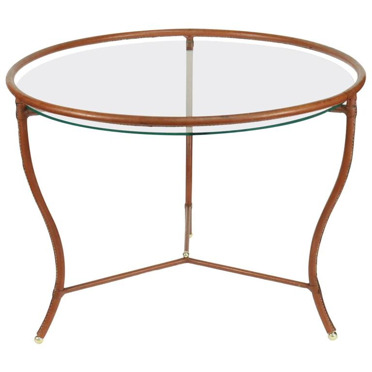 Jacques Adnet 1950s Havana Leather Round Table At 1stdibs