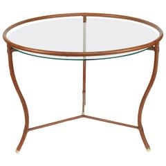 Jacques Adnet 1950s Havana Leather Round Table