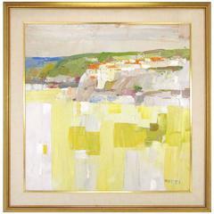 Modernist Palette Knife Tuscan Coastal Scene Oil by Italo Botti, circa 1960s