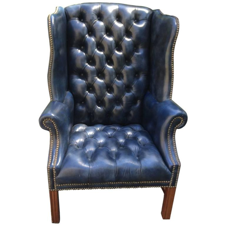 Fabulous Navy Blue Leather Tufted Wing Chair at 1stdibs – Navy Blue Leather Chairs