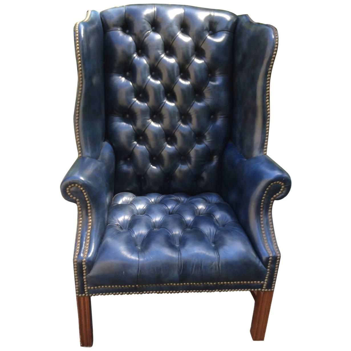 Fabulous Navy Blue Leather Tufted Wing Chair For Sale At