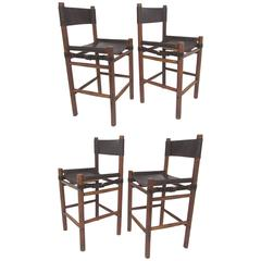 Set of Four Safari Style Leather Sling Bar Stools, circa 1970s