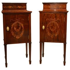 Good Pair of Liberty & Co Edwardian Period Mahogany Bedside Cabinets