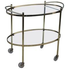 Mid-Century Modern Solid Brass Oval Bar Cart