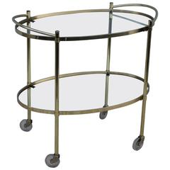 Mid-Century Modern Solid Brass Oval Bar Cart