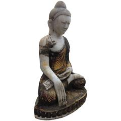 Burma Myanmar Monumental Old Seated Buddha with Beautiful Face, Outdoor indoor