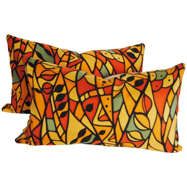 Custom Pillows Cut from a Vintage Silk Kimono