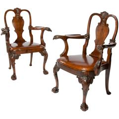 Extremely Good Pair of Antique Walnut Desk Chairs