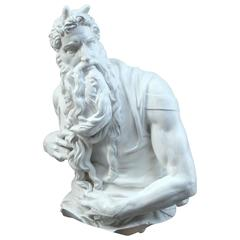 White Plaster Copy of Michelangelo's Sculpture of Moses