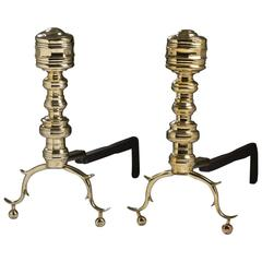 Pair of American Brass Firepalce Faceted Andirons, 19th Century