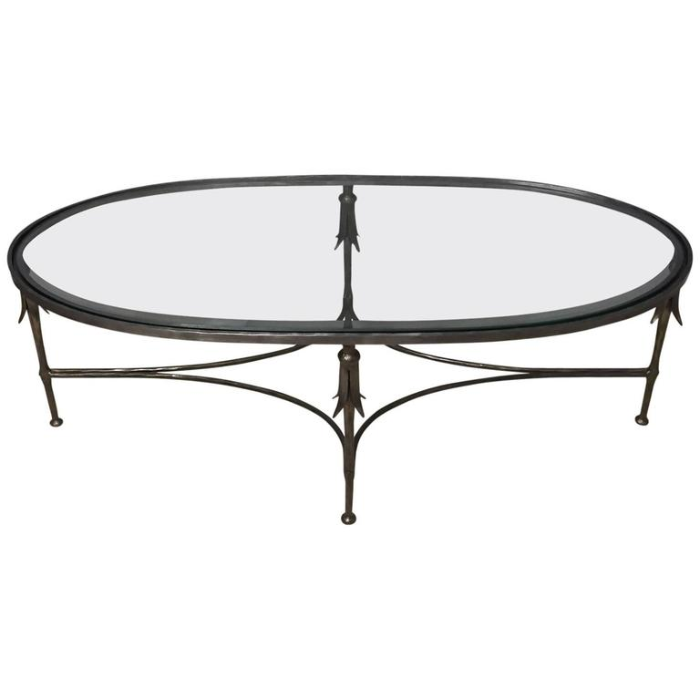 Elegant french hand wrought iron and glass oblong coffee for Oval wrought iron coffee table with glass top