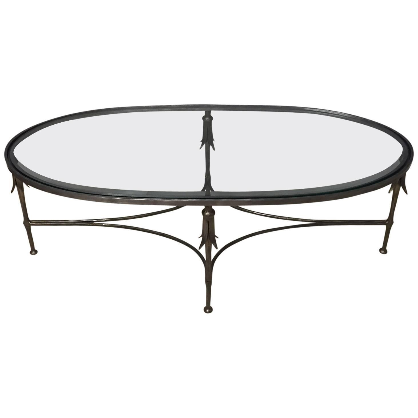 Elegant french hand wrought iron and glass oblong coffee table at 1stdibs Wrought iron coffee tables