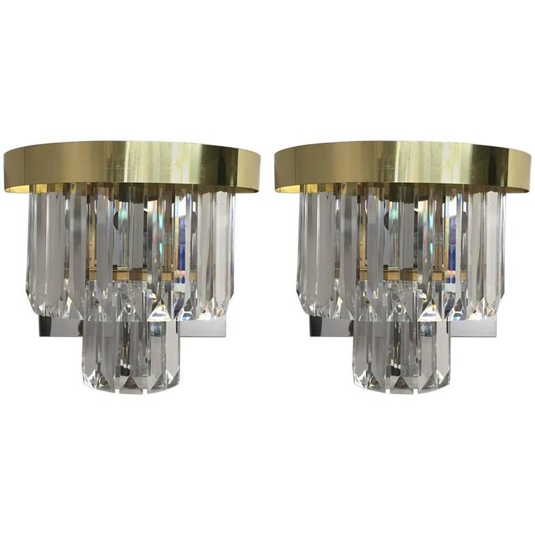 Pair of Glitzy Brass and Chrome Wall Sconces with Lucite Drops