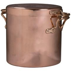 English Copper Cooking Kitchen Stock Pot with Lid, 19th Century