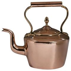 English Copper Kitchen Hot Water Kettle, 19th Century