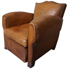 Art Deco French Cognac Leather Club Chair, 1940s