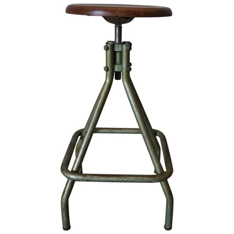 French Vintage Industrial Adjustable Stool, 1950s