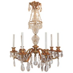 Wonderful French Gilt Doré Bronze Fixture Seven-Light Crystal Chandelier