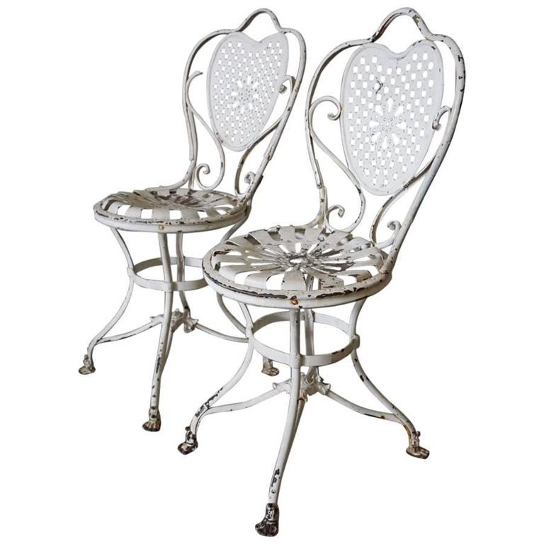 French Wrought Iron Garden Chairs 1890s Set Of Two For Sale At 1stdibs: french metal garden furniture