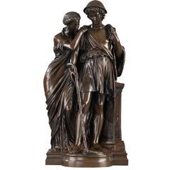 """Bergers d'Arcadie"" Bronze by Eugene-Antoine Aizelin, '1821-1902'"