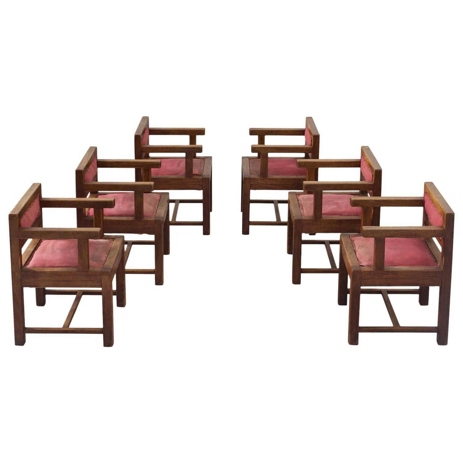 Set of six dining chairs in mahogany and red fabric for Red dining chairs for sale