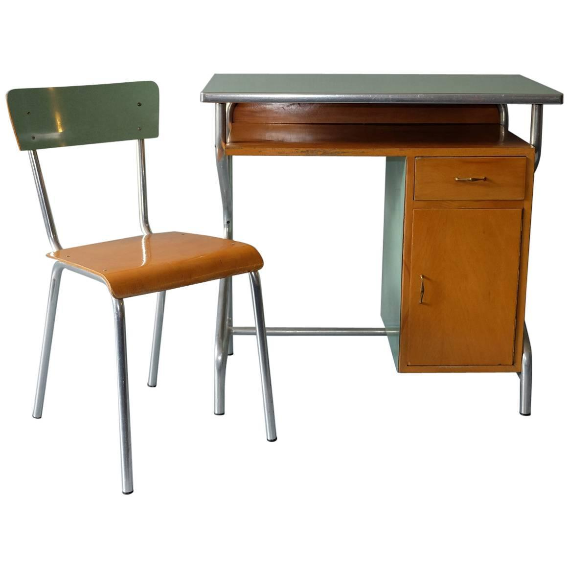 Italian Small Desk and Chair Metal and Formica 1950s at
