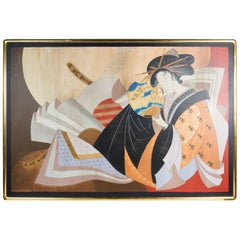 Large Painting of a Japanese Geisha by Philip Standish Read