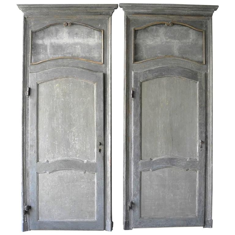 Antique Set of Two Large Italian Doors with Blue Patina and Glass Transom 1