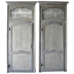 Antique Set of Two Large Italian Doors with Blue Patina and Glass Transom
