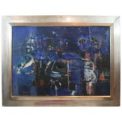 French Abstract Expressionist Oil on Canvas by Jacques Yankel