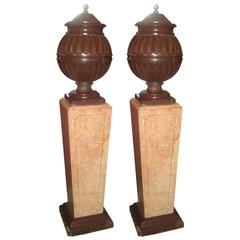 Pair of 19th Century Griotte Violet Marble Urns and Covers on Marble Pedasels