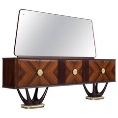 Eccentric Italian Sideboard in Marble and Mahogany