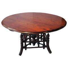 19th Century French Near Round Table with Bamboo Style Feet