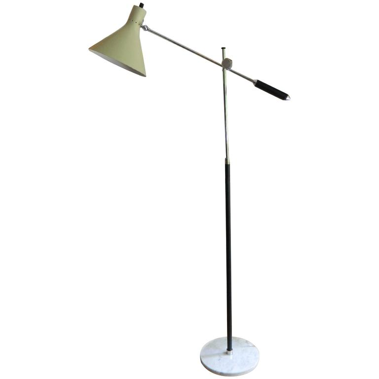 italian floor lamp with marble base in arredoluce style for sale at. Black Bedroom Furniture Sets. Home Design Ideas