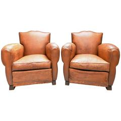 1930s Small French Art Deco Moustache Leather Lounge/Club Chairs