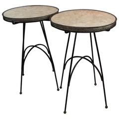 Pair of Mid-Century Marble and Iron French Side Tables