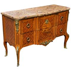 Louis XV-XVI Transitional Kingwood Marquetry Marble-Top Commode